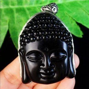 Giant black obsidian Sakyamuni Necklace